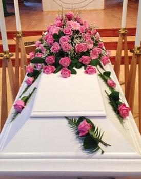 Kistdekoration rosa rosor